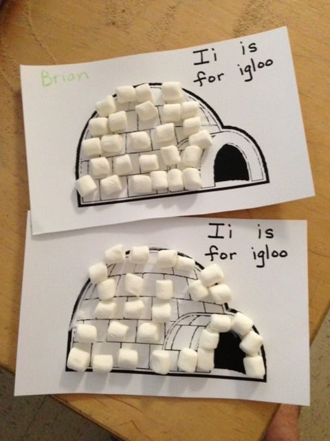 Kindergarten and Mooneyisms: Letter I Activity - Marshmallow Igloos (and a Math Bonus!)