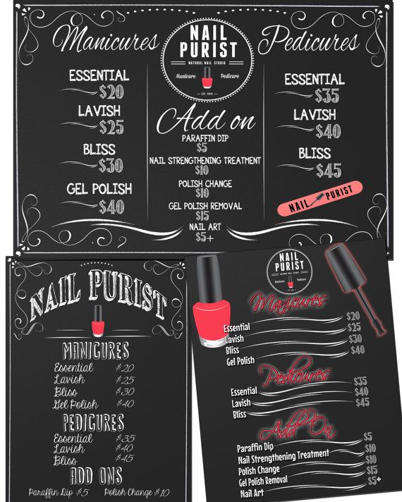 Nail salon sign beauty salon sign custom nail pricing for Nail salon sign in sheet template