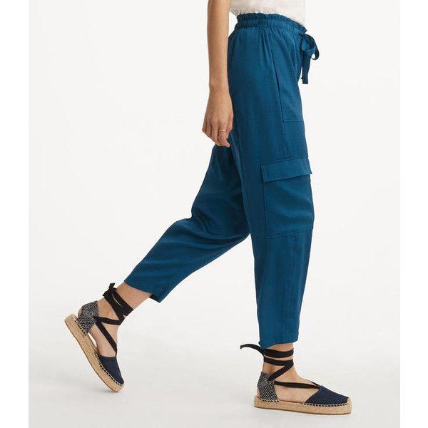 LOFT Lou & Grey Fluid Cargo Pants ($80) ❤ liked on Polyvore featuring pants, burning sapphire, loft pants, white pants, white cargo pants, white trousers and cargo trousers