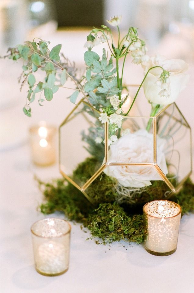 modern chic wedding centerpiece