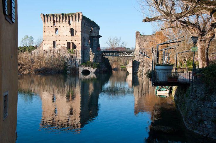 The Scaligeri bridge seen from the old mills, Borghetto, Veneto, Italy