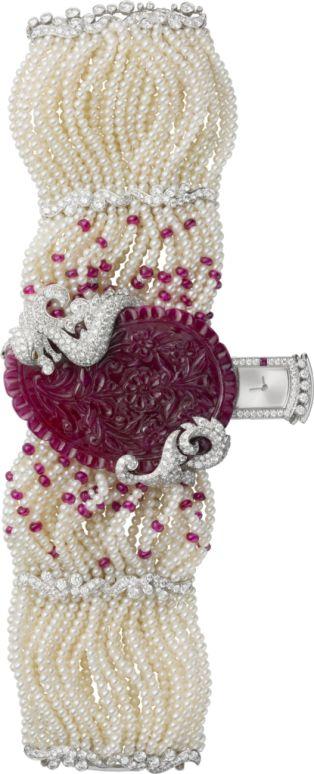 High Jewelry Watch Rhodiumized 18K white gold, rubies, freshwater pearls, diamonds