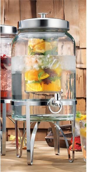 This glass infuser drink dispenser, is great for your home and any event . Such as parties, weddings and picnics. The infuser will give you that great taste when you add the lemons or berries to the water thats inside the jug. A perfect healthy drink! Just for $49.99.