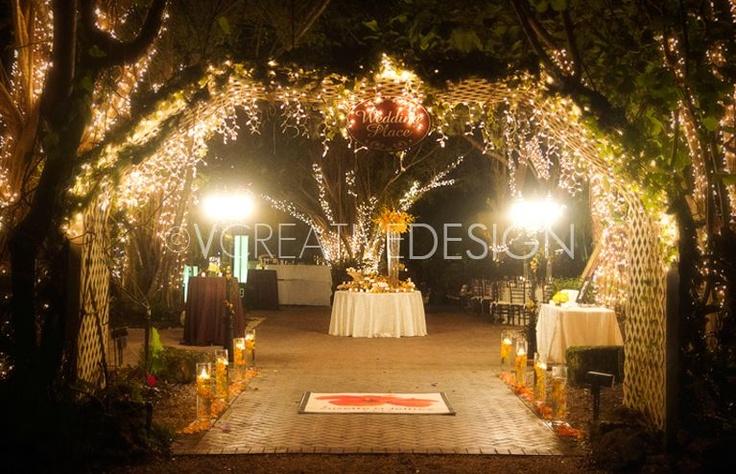 Reception Ceremony Length: Wedding Reception Lighting #WoodenArch #StringLighting