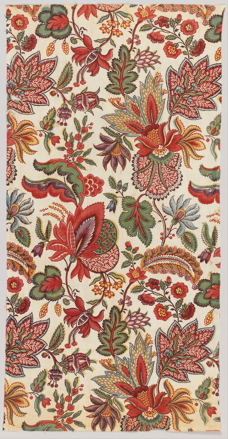 Textile (late 18th century) block printed.