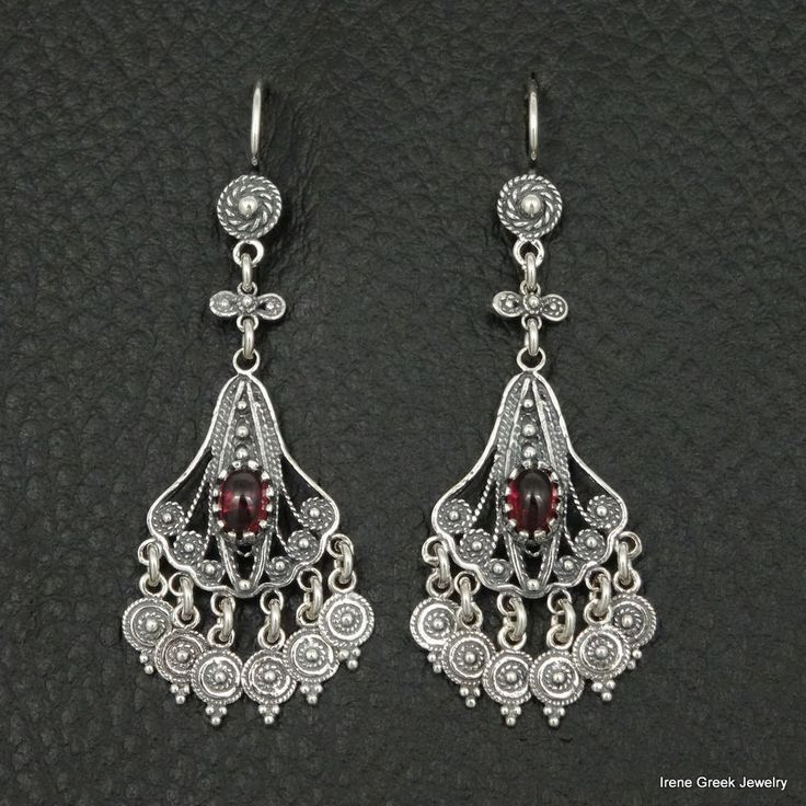 NATURAL GARNET FILIGREE STYLE 925 STERLING SILVER GREEK HANDMADE ART EARRINGS #IreneGreekJewelry #Chandelier