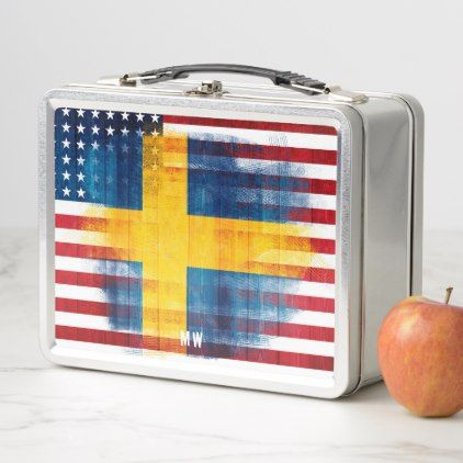 Swedish American Flag | Wood Grain | Monogram Metal Lunch Box - kitchen gifts diy ideas decor special unique individual customized