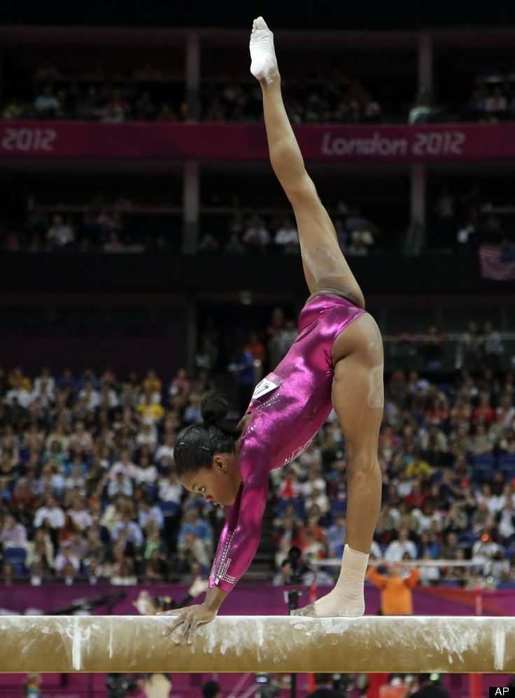 Gaby Douglas performs on the balance beam during the artistic women's individual all-around competition on August 2nd in the 2012 London Olympics.