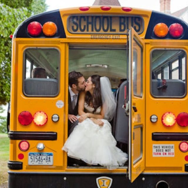 Use A School Bus To Transport Wedding Guests And In Cute Photos