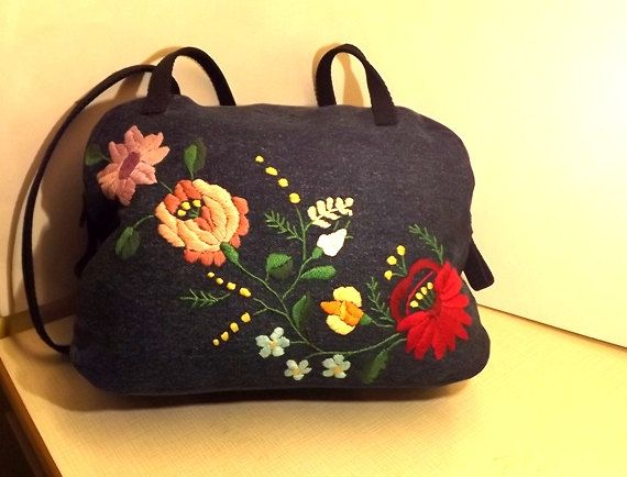 Gift for Her Denim messenger bag Kalocsa by Mariannasboutique, $50.00