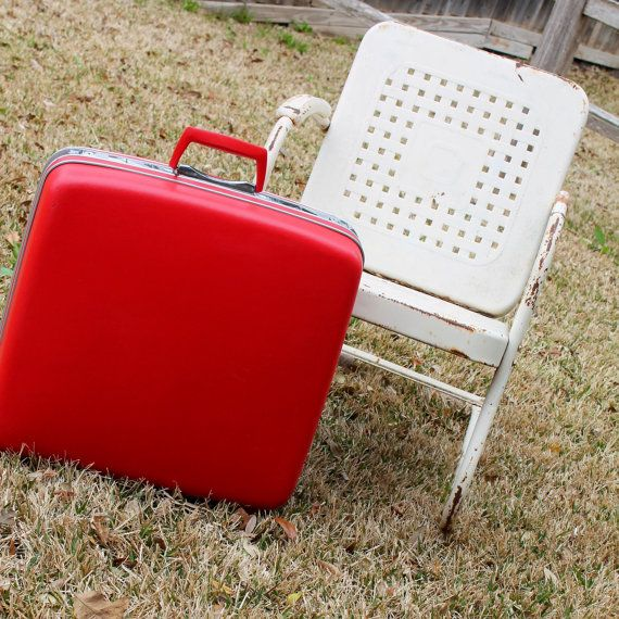 """Square 22"""" BRIGHT RED Samsonite Suitcase / Folding Wardrobe - Red Hard Shell Ladies Garment Bag with Original Hangers on Etsy, $85.00"""