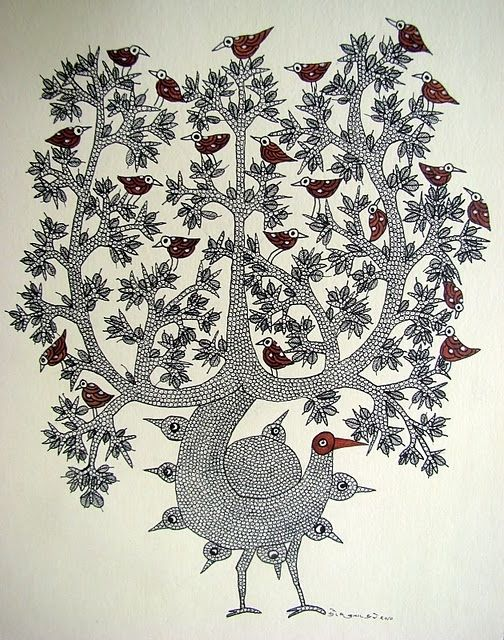 Magic Tree by Suresh Dhrube, Gond artist, of India