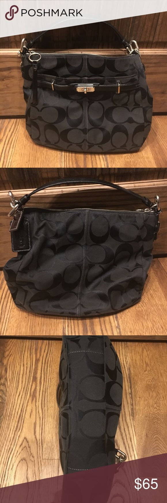 Authentic Coach Purse Authentic black Coach purse with silver buckle detail. Coach Bags Hobos
