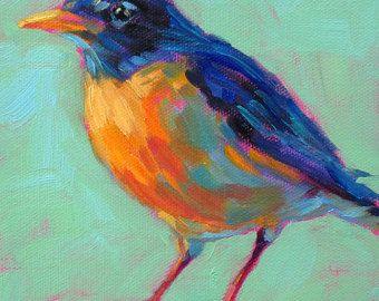 Robin Bird impresión de mi original pintura al óleo arte de