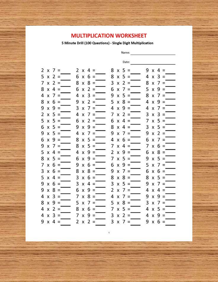 Multiplication 5 minute drill H (10 Math Worksheets with