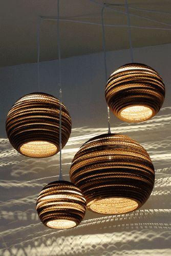 GrayPants Moon Ceiling Lights - 10 inch - Handmade From Recycled Cardboard Boxes
