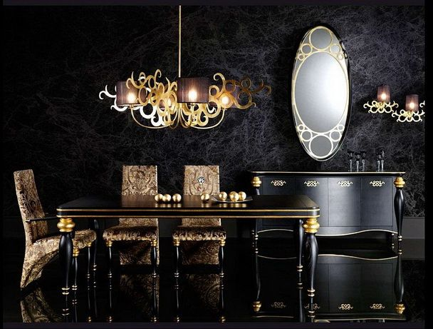 Luxury Black Dining Room Decor with Black Gold Combination Dining Room Furnitures and Shiny Black Floor
