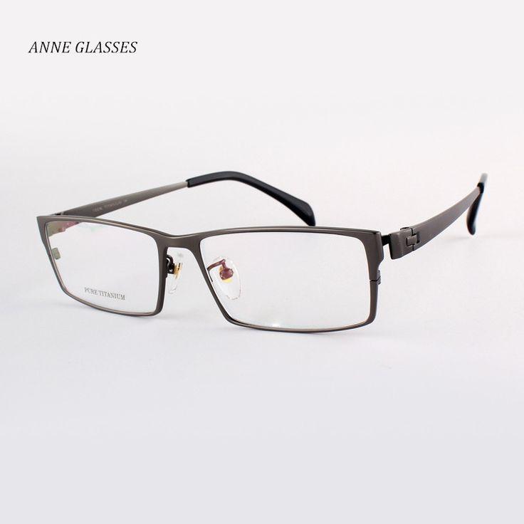 ANNE GLASSES brand Men Optical Frames 100% Pure Titanium Eyeglasses Frame Full Rim Large Size Eyewear 8180 Myopia Titanium Frame