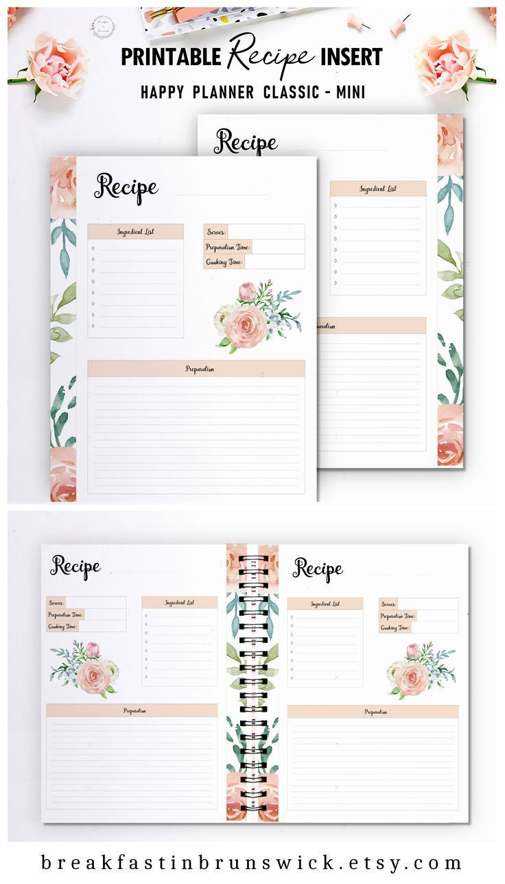Happy Planner Recipe Insert Mambi Mini Printable Recipe Pages Hp Classic Recipe Refill Floral Recipe Template Big Happy Planner Insert Happy Planner Planner Inserts Printable Printable Recipe Page