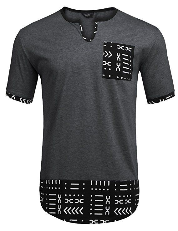 1d8957f3a COOFANDY Mens Hipster Hip Hop Aztec Graphic Print Longline T-Shirt Stylish  Designs V Neck Tee Shirt|Men's fashion|men's fashion …