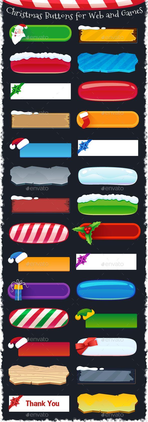 Christmas Buttons for Web and Games - Christmas Seasons/Holidays