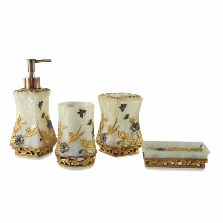 Amazon dream bath oriental palace bath ensemble 4 piece bathroom accessories set luxury bath - Oriental bathroom decor ...