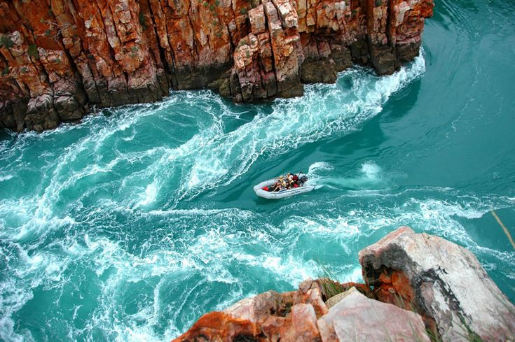 Boat the horizontal waterfalls of Buccaneer Archipelago in Western Australia.