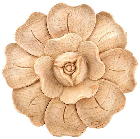 "Applique / 2-7/8""DIA. X 1/2""D - embossed wood carvings onlays, applique crown, cherry and maple appliques, wooden rosette, rosetts, hand carved wood appliques, rossettes 