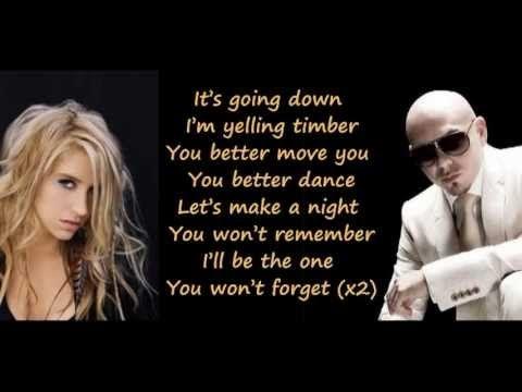 Pitbull Feat. Ke$ha/Kesha - Timber (Lyrics on Screen) (Full Song)