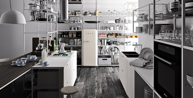 Meccanica minimalist shelving system | Designer: Valcucine  Life is too dusty for this!