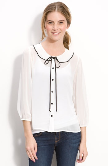 Lily White Sheer Trompe l'Oeil Collar Blouse: Fashion, Lilies White, Long Sleeve Shirts, Peter Pan Collars, Collars Blouses, Wide Leggings Pants, Skirts Patterns, Pencil Skirts, White Sheer