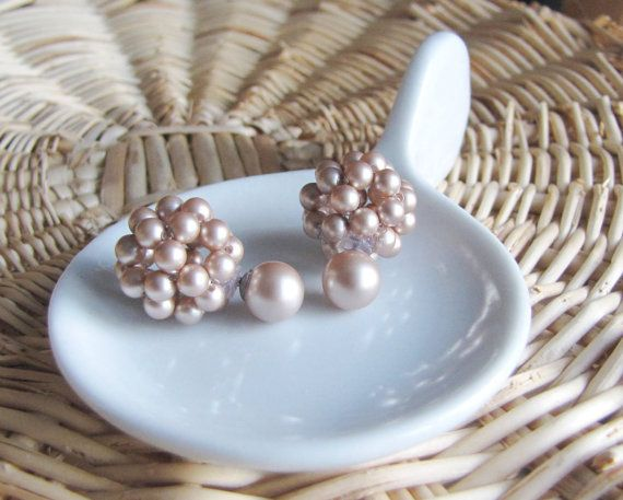 Powder almond double sided earrings two sided earrings double pearl earrings front back earrings