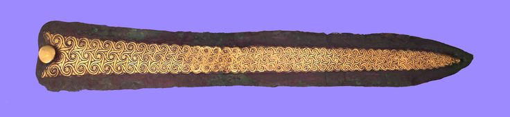 Bronze dagger with gold decoration. 16th century B.C. From another grave at the Mycenaean site where the Mask of Agamemnon was found.