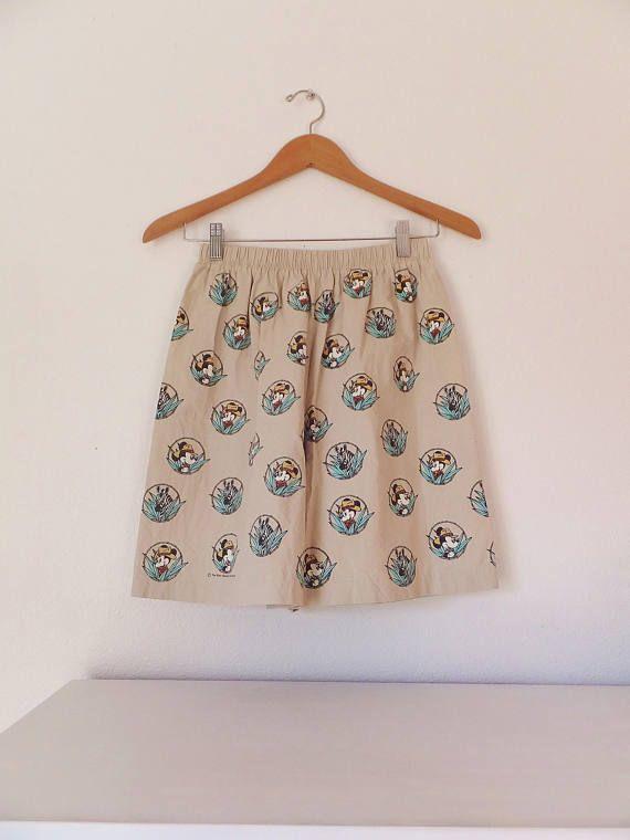 Mickey Mouse Safari Shorts Vintage 1990 S Culottes Shorts