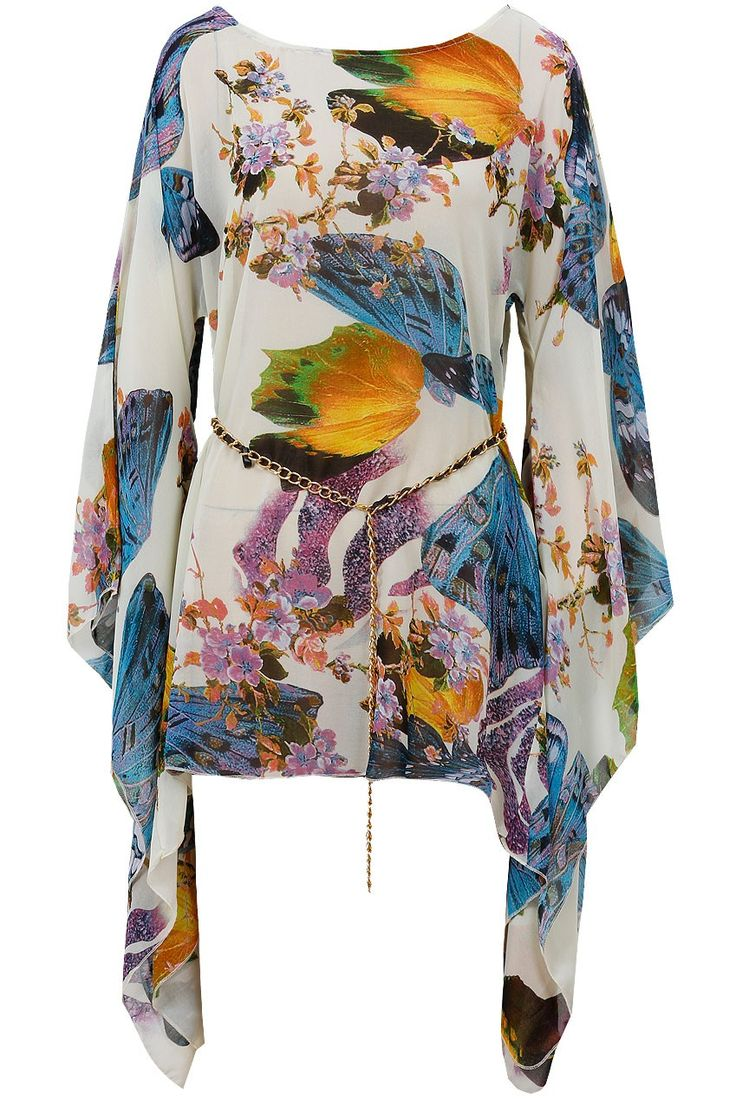 Blue Flower Print Full Sleeve Gold Belted Chiffon Tunic coming in this week at £30