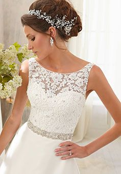 Chapel Train V-back Natural Waist Satin,lace Scoop A-line Wedding Dress picture 2