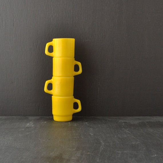 Fire King Yellow Mugs  Stacking Coffee Cups  Anchor by KOLORIZE, $32.00