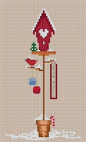 cross stitch birdhouse for winter