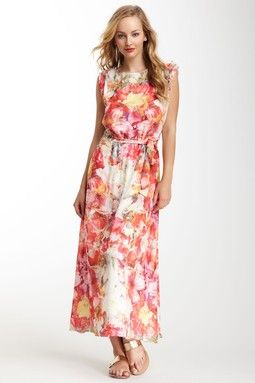 Vince Camuto Floral Print Cinched Waist Maxi Dress