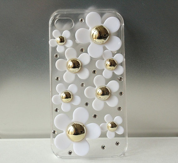 Handmade Full Resin Flower and Crystal Clear iphone
