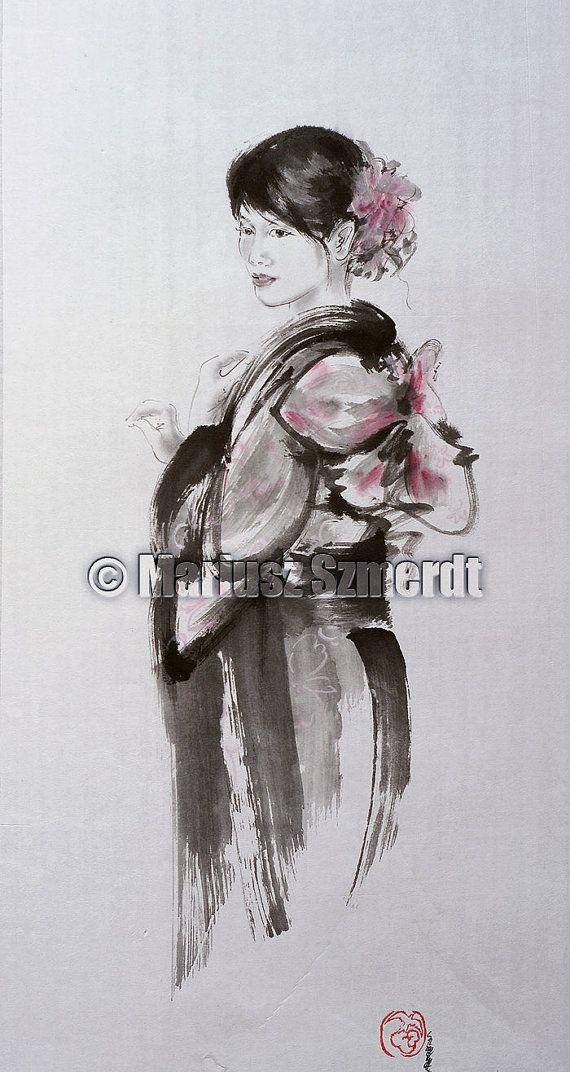 Geisha kimono Japanse vrouwen sumie geishapop door SamuraiArt, $280.00