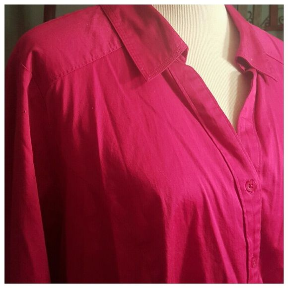 Bright pink dress shirt Lane bryant Bight pink dress shirt. From lane bryant.  Lots of stretch! Size 28. Great for wearing with dress pants, jeans, layering, or anything you can think of!! Throw on a set of pearls and you're ready to go! Lane Bryant Tops Button Down Shirts