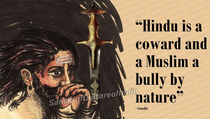 """There is common perception that Hindus are cowards and Muslims are brave. Even Mahamta Gandhi went on to write: """"Hindu is a coward and a Muslim a bully by nature."""""""