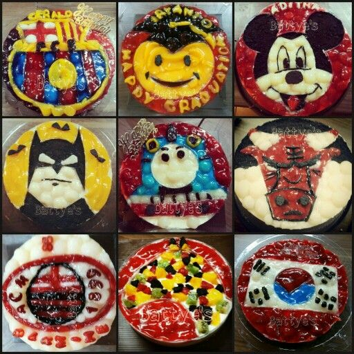 flags and cartoon characater cheesecakes