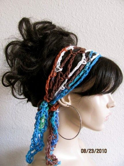 Peruvian Hand Crochet Gypsy Style Hair Band and Scarf $10