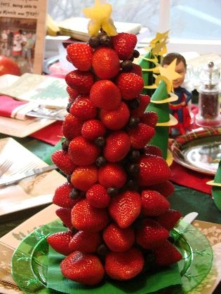 A fresh fruit Christmas tree! Just add some melted chocolate for dipping...and
