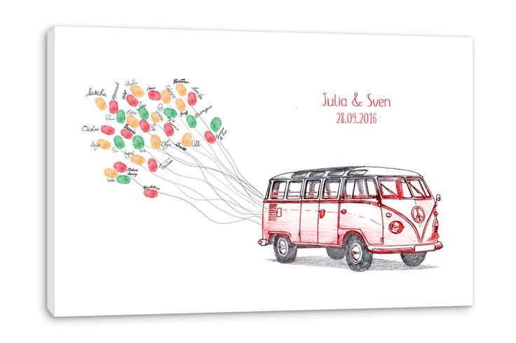 Hochzeitsspiele - Hochzeitsspiel - Fingerabdruck-Leinwand - Fingerleinwand_Bus_rot - individuell