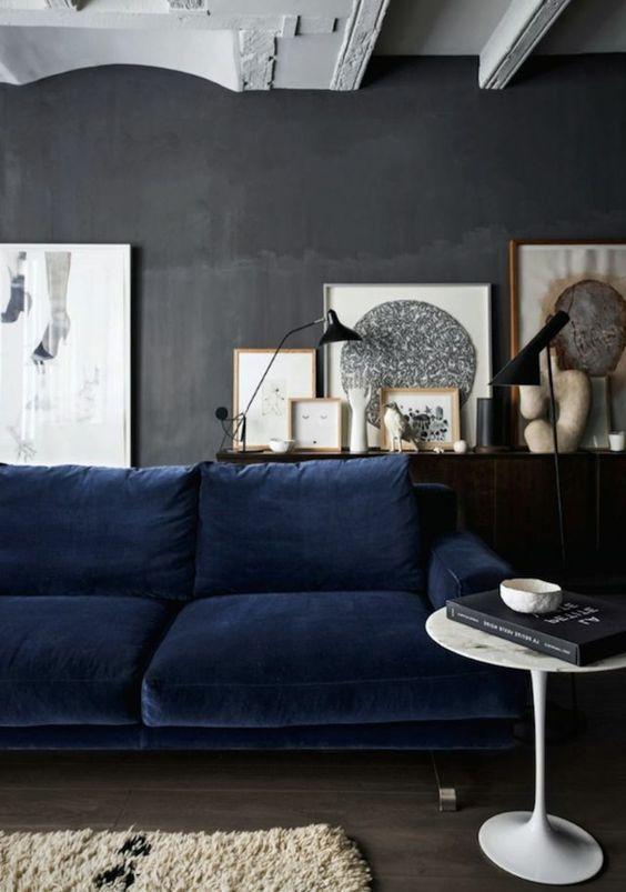 Canapé bleu nuit / Blog Atelier rue verte /