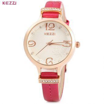 ver WeiQin W4782 mujeres Rhinestone analógica pendiente de la flor de la pulsera del reloj del cuarzo  Peach red