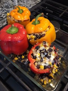 Vegetarian Stuffed Peppers! Stuffed peppers are a GREAT option because they are delicious, easy, and a fun way to incorporate veggies! ...